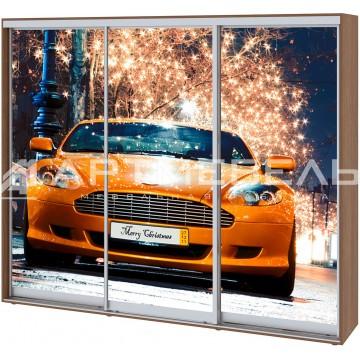Шкаф-купе трехдверный Алата ЛДСП Дуб родос темный с фасадами фотопечать 260x45x215